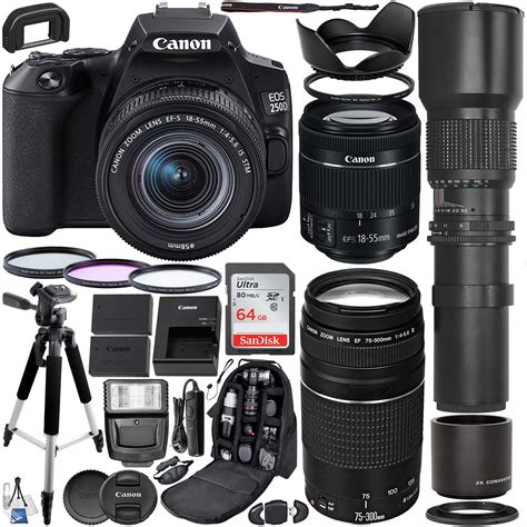 Canon EOS 250D (Rebel SL3) DSLR Camera with 18-55mm & 75
