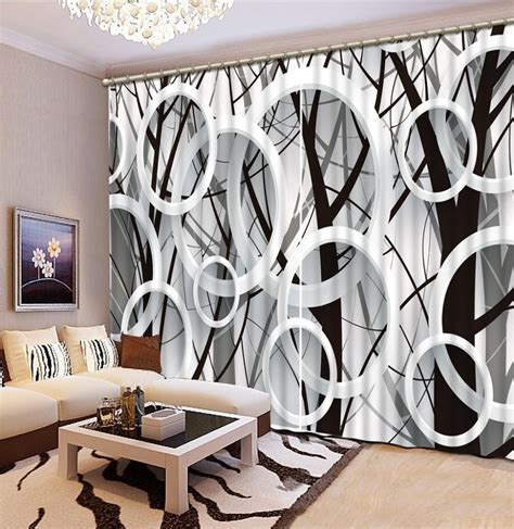 Modern style 3D branches circle Window Curtain black and