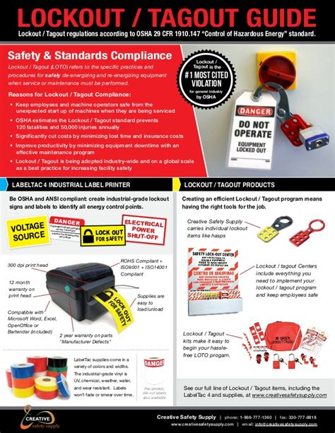 Guide lockout-tagout information and products