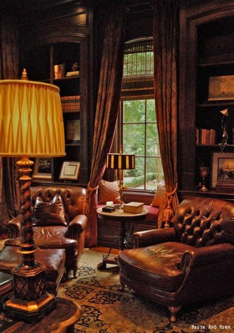 A manly cigar and whiskey room with built in wood shelves