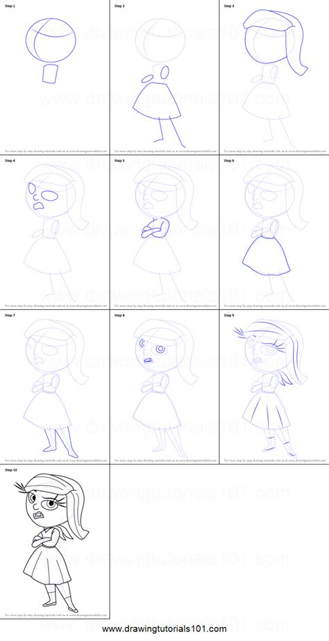 How to Draw Disgust from Inside Out printable step by step