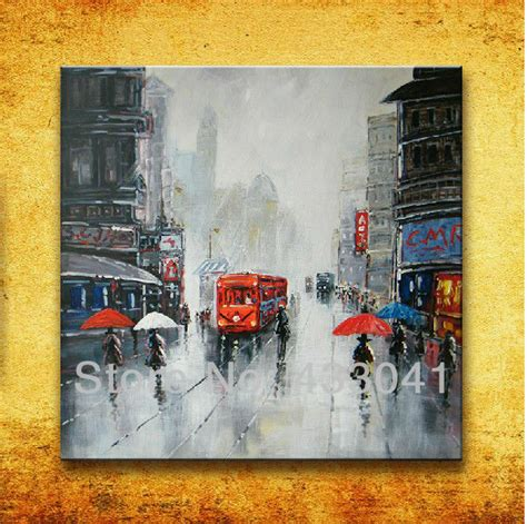 Hand Painted Modern Abstract France Paris City Street