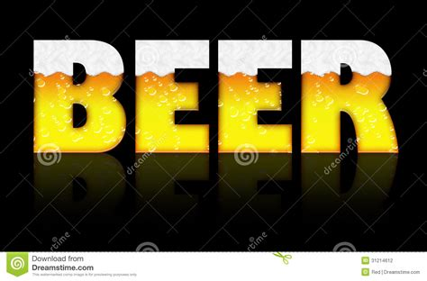 Beer Word With Foam And Bubbles Stock Illustration