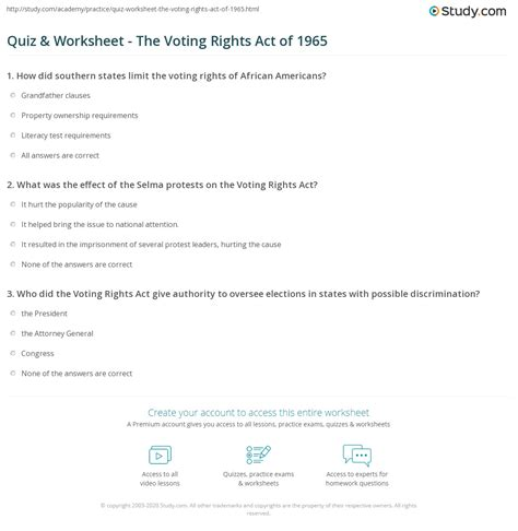 Quiz & Worksheet - The Voting Rights Act of 1965   Study