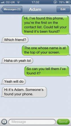 I have found this phone, text message