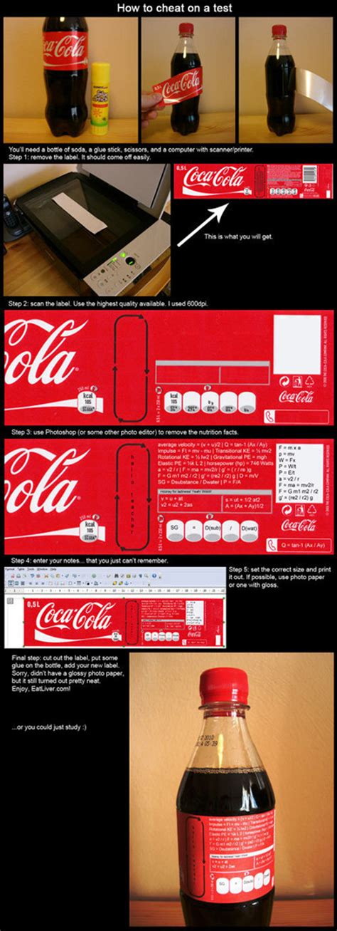 How To Cheat On A Test Using A Coke Bottle And Photoshop